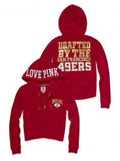 San Francisco 49ers Bling Slouchy Zip Hoodie - Victoria's Secret PINK® - Victoria's Secret