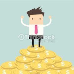 Vektorgrafik : Businessman standing on gold coin
