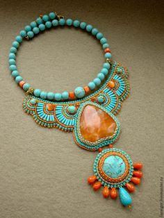 """Купить Колье """"Путешествие в Индию"""" (вышивка бисером) - бирюзовый, оранжевый, Вышивка бисером"""