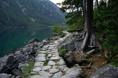 Stone path to Morskie Oko lake in Tatra Mountains, Poland.