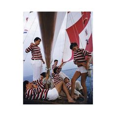 #summer Young holidaymakers from Milan enjoy a sail on the Adriatic 1956. Photo by Slim Aarons  #holiday #vacances #50s #sailing #boat #stripes #adriatic #50s #slimaarons #holiday #vacances #mood #instamood #chic #sunday #yacht