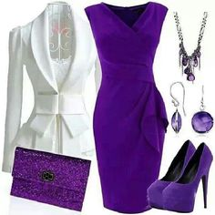 Love the design/cut of the dress, maybe in a different color. Cine neckline on the dress, not too sure about the bow though 😕 Komplette Outfits, Classy Outfits, Beautiful Outfits, Purple Outfits, Classy Dress, Date Night Outfits, Gorgeous Dress, Fall Outfits, Look Fashion