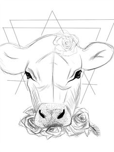 Animal Paintings, Animal Drawings, Art Drawings, Cow Painting, Painting & Drawing, Cow Tattoo, Farm Tattoo, Cow Drawing, Aquarell Tattoos