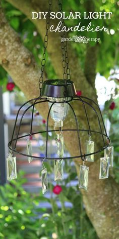 solar light chandelier project - Make this project in no time with a few common materials and then let your imagination run wild in decorating it. Hang it up somewhere where it will catch the light and enjoy watching it shine. It's so gorgeous, it just might attract some fairies to your garden!