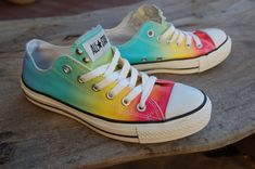 I NEED THESE IN MY LIFE RIGHT NOW.  //  Low Top Rainbow Studded Converse Rare Vintage