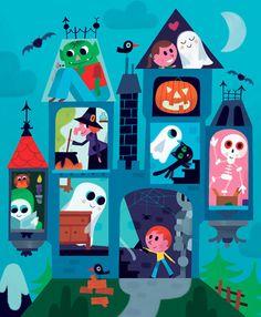 Vincent Mathy créé ici une illustration d'Halloween très colorée et joyeuse. Inspirez-vous de son travail pour réaliser une pièce de céramique personnalisée dans un style similaire!