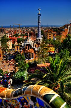view of Barcelona, Parque Güell, by architect Anton Gaudi from Catalonia, Spain !!!
