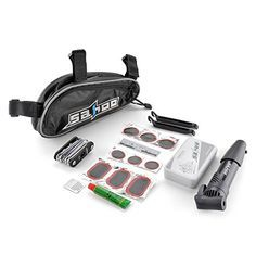 Flexzion Bicycle Tire Repair Tools Set Bike Cycling Multifunction Cycle Maintenance Complete Kits Accessories with Patches Levers Pouch Glue Mini Portable Pump and Saddle Bag | Mountain Bike Outpost