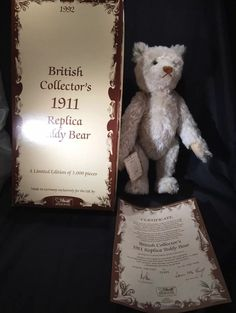 STEIFF BRITISH COLLECTOR S 1911 TEDDY BEAR - 406645- LIMITED EDT 00481/3000