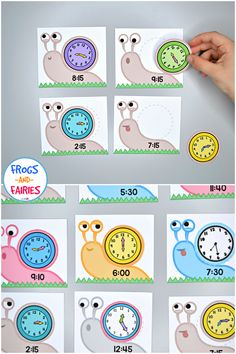 This Snail Time Match will make practicing telling time more exciting for little learners! These adorable snails are looking for their shells! Telling Time Activities, Teaching Time, Teaching Math, Maths, Clock For Kids, Kids Clocks, Math Games, Preschool Activities, Math Addition