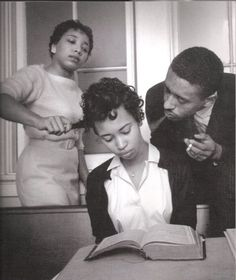 School for black civil rights activists; young girl being trained to not react to smoke blown in her face, 1960