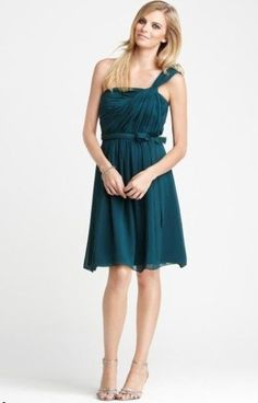 Ann Taylor Serena Twist Silk Chiffon One Shoulder Ruched Dress 18