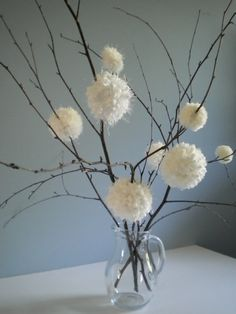 First Snowfall  Winter White Puffy Flowers  by BlueRidgeMercantile