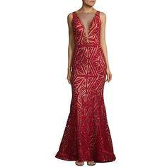 Nicole Bakti Women's Geometric Sleeveless Mermaid Gown ($500) ❤ liked on Polyvore featuring dresses, gowns, red, low v neck dress, geometric dress, red mermaid dress, sleeveless dress and mermaid dresses