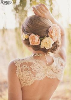 Wedding Hair Braided with Flowers and Lace Open-Back Wedding Dress - Absolutely beautiful combination.