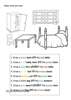 Read, draw and color. - English ESL Worksheets for distance learning and physical classrooms English Prepositions, English Vocabulary, English Grammar, Prepositions Worksheets, Education English, Teaching English, English Lessons, Learn English, English English