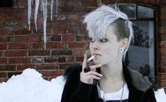 "Punk hairstyles are extremely popular among young people, especially those who are ""in search of themselves"". Punk short haircuts are Undercut Hairstyles, Pretty Hairstyles, Undercut Mohawk, Undercut Styles, Hairstyles Haircuts, Hairstyle Ideas, Short Punk Haircuts, Punk Pixie Haircut, Short Haircut"