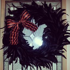 Black Feather Wreath with Orange Bow. Halloween Wreath !