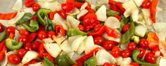 Easy Oven-Roasted Peppers | Steven and Chris | By Voula Halliday Makes 4 to 6 servings 1 red pepper 1 green pepper 2 sweet onions 2 tbsp (30 mL) olive oil 1 pint baby tomatoes Heat oven to 400 F (200 C). Core and seed peppers; chop into...