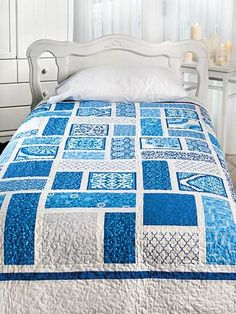 A Day at the Spa Quilt Pattern Download from e-PatternsCentral.com -- Let tranquil blue tones and easy piecing take you on a relaxing quilt journey.