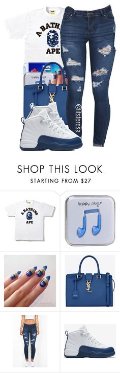 """""""700 followers """" by itsteresa on Polyvore featuring Happy Plugs, Yves Saint Laurent and NIKE"""