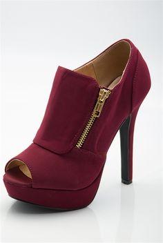 Serious Style Side Zip Peep Toe Booties - Burgundy