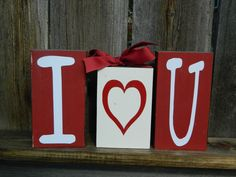 """Painted Wood Blocks for Valentines Day -  """"I heart you"""" blocks with ribbon"""