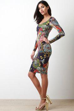 Filigree Tassel Long Sleeve Bodycon Dress http://www.mymallmetro.com/products/ung82324 #bodycondresslongsleeve