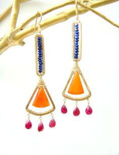 Multicolor Chandelier Earrings - Tribal earrings, wire wrapped, boho chic, designer jewelry, luxe jewelry, gemstone earrings.