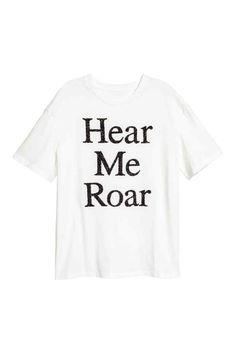 95aad31e40b Tričko s korálkovou výšivkou - Bílá Hear me roar - ŽENY