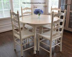 kitchen table makeover Shabby Sweet Tea: Shabby Chic Kitchen Table and Chairs - Shabby Chic Kitchen Table And Chairs, Shabby Chic Kitchen Decor, Kitchen Table Makeover, Shabby Chic Dining, Shabby Chic Living Room, Kitchen Tables, Shabby Chic Theme, Dinette Sets, Chic Bathrooms