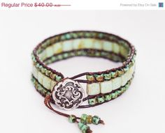 XMAS SALE Beaded Leather Wrap Bracelet, Triple Row Wrap Bracelet, Boho Wrap Bracelet, Turquoise Picasso Wrap Bracelet (7inch)