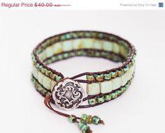 XMAS SALE Beaded Leather Wrap Bracelet, Triple Row Wrap Bracelet, Boho Wrap Bracelet, Turquoise Picasso Wrap Bracelet (7inch)