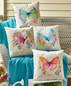 Gain daily affirmation from the sentiment and colorful artwork of the Inspirational Indoor/Outdoor Pillow. Both sides feature a pretty pastel butterfly on top of a gorge Butterfly Cushion, Fabric Paint Designs, Colorful Artwork, Outdoor Cushions, Outdoor Pillow, Fabric Painting, Flower Wall, Wall Colors, Cushion Covers