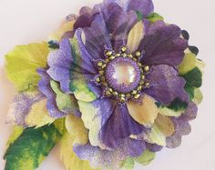 Lavender fabric flower brooch, silk flower, flower for sash, bridesmaid hair clip, lilac flower hair clip, mother of a bride brooch.