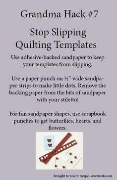 Grandma trick to stop slipping quilting templates #grandmahack