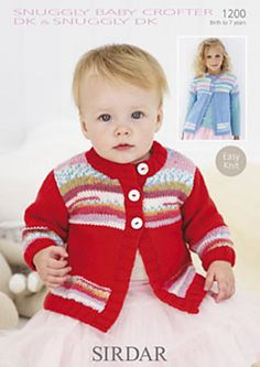 Sirdar 1200 Girls Cardies easy knit in DK ( weight. For babies and children up to 7 years. Weaving Patterns, Baby Knitting Patterns, Crochet Patterns, Yarn For Sale, Fair Isle Pattern, Christmas Sweaters, Knit Crochet, Pullover, Yarns