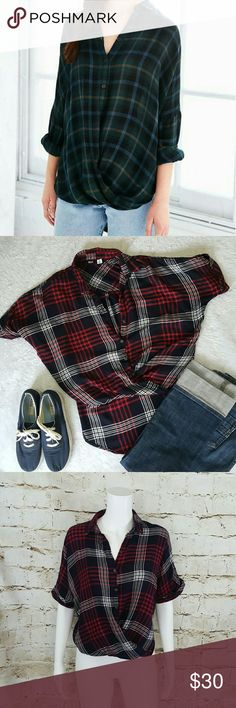 """Urban Outfitters BDG plaid cross front hi-low hem Excellent condition high low hem cross front button up,  adorable blouse. 20"""" across from armpit to armpit and 22"""" long from shoulder to hem in front and 27"""" long from shoulder to hem in back Urban Outfitters Tops Blouses"""