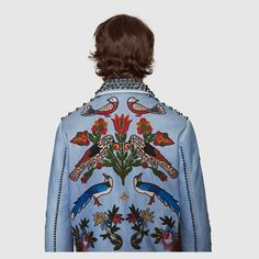 GUCCI Men's Embroidered leather jacket