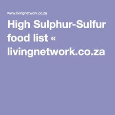 What Foods Are High In Sulfa