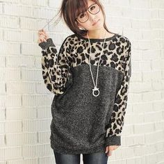 Leopard Print Gray Sweater