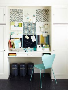 Fabric covered cork tiles & painted pegboard tiles ... great way to organize & customize to any space.