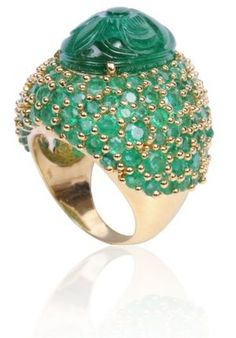 Roma Starbust ring with carved emerald by Deci London