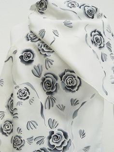 Black white roses silk scarf Hand painted flowers gray by Irisit