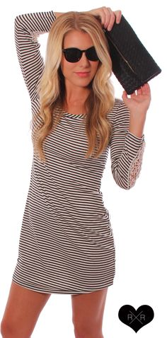 long sleeve striped dress + sunnies + black clutch… perfect night out ensemble