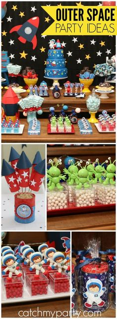 Such a fun outer space astronaut birthday party! See more party ideas at http://CatchMyParty.com!