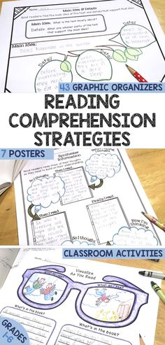 Grades 1-6 Reading Comprehension Graphic Organizers! Researched-Based from the 7 Keys to Comprehension (Zimmerman).