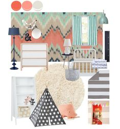 Found on the Land of Nod blog- my Ikat Chevron Wallpaper in Coral, Mint and Navy! Available in a wallpaper and a variety of fabrics! Toddler Girls' Room Mood Board