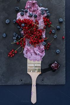 Summer berries. Table top view.      by kawizen  on @creativemarket #berries #yogurt #violet #purple #painting #foodart #brush #tray #slatetray #servingtray #currants #blackberries #currant #redcurrant #tabletopview #topview #summer #season #seasonal #fruits #flavor #red #explosion #art #artistic #kitchentray #icecube #frozencherry #frozen #icy #frosty