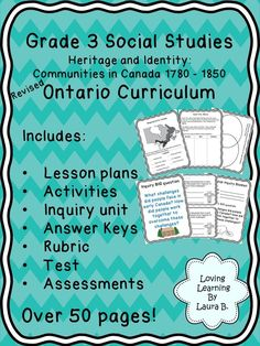 Complete unit plan for Grade 3 Heritage and Identity: Communities in Canada strand of Ontario's Social Studies curriculum. Great with the Many Gifts student book but not necessary. Inquiry included and assessments. Social Studies Communities, Social Studies Curriculum, Social Studies Notebook, Social Studies Activities, Teaching Social Studies, Educational Activities, History Education, Teaching History, Ontario Curriculum
